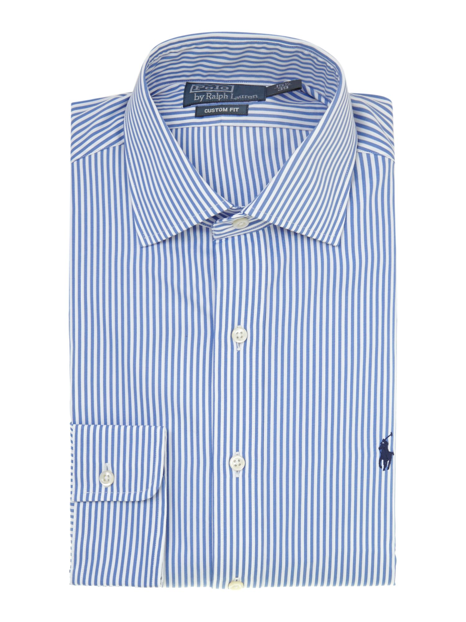 Long sleeve custom fit regent fine stripe shirt