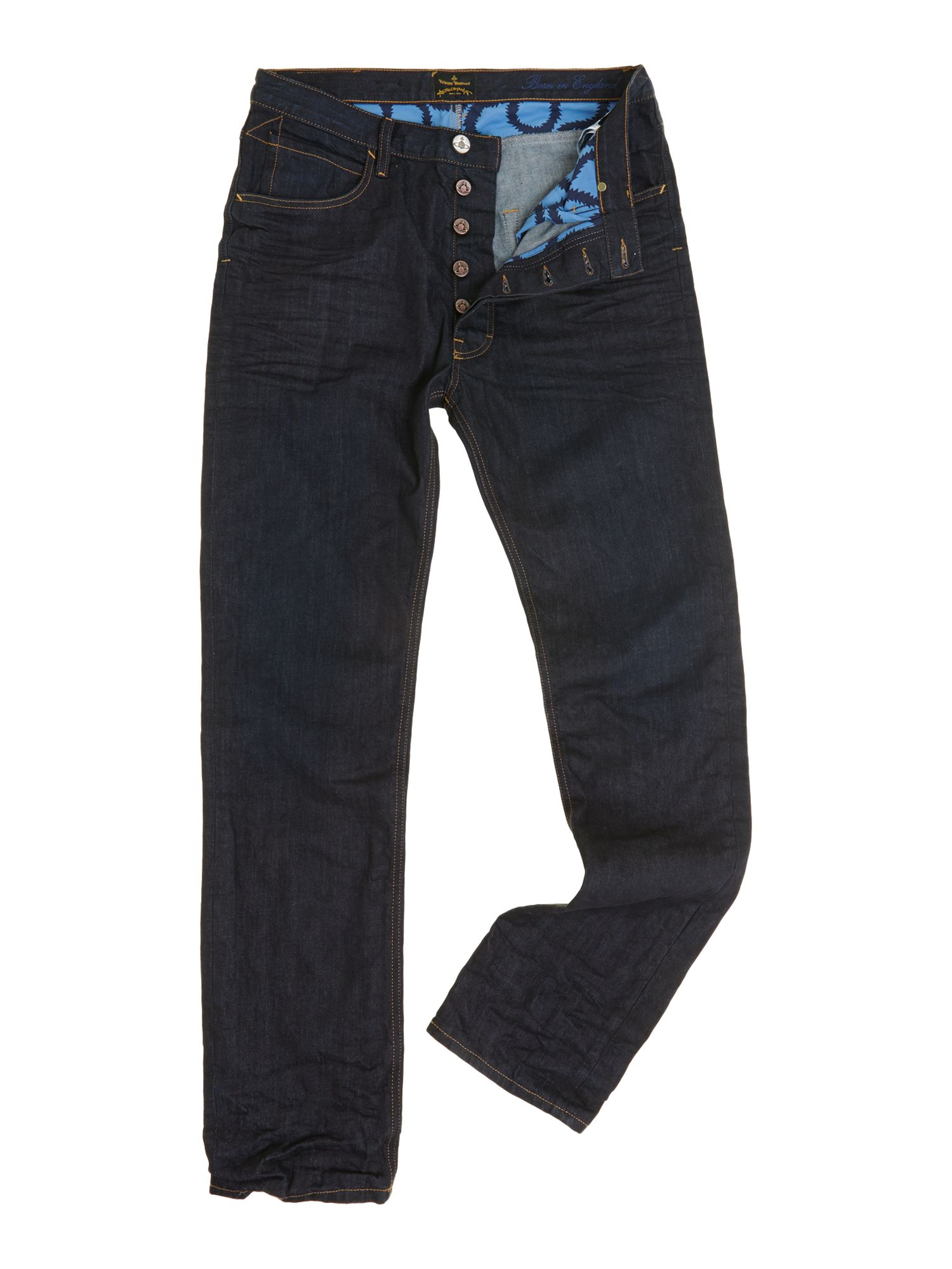Low crotch tapered jeans