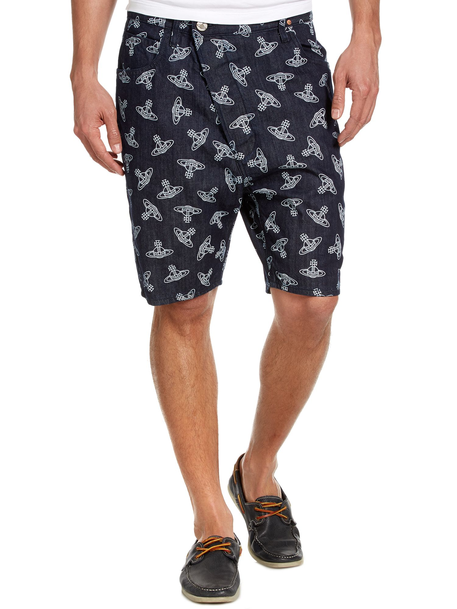 All over orb print shorts