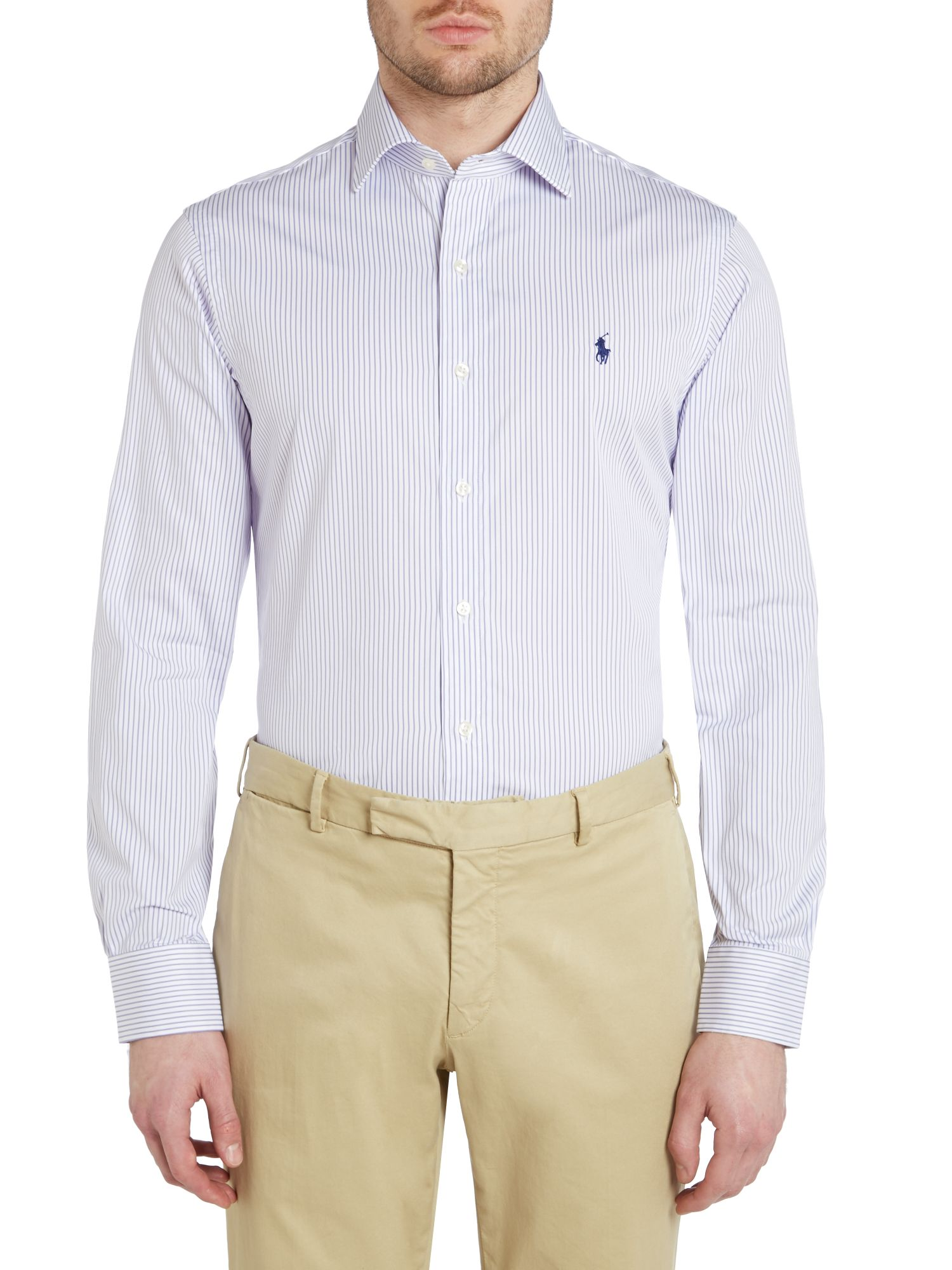 Long sleeve slim regent stripe shirt