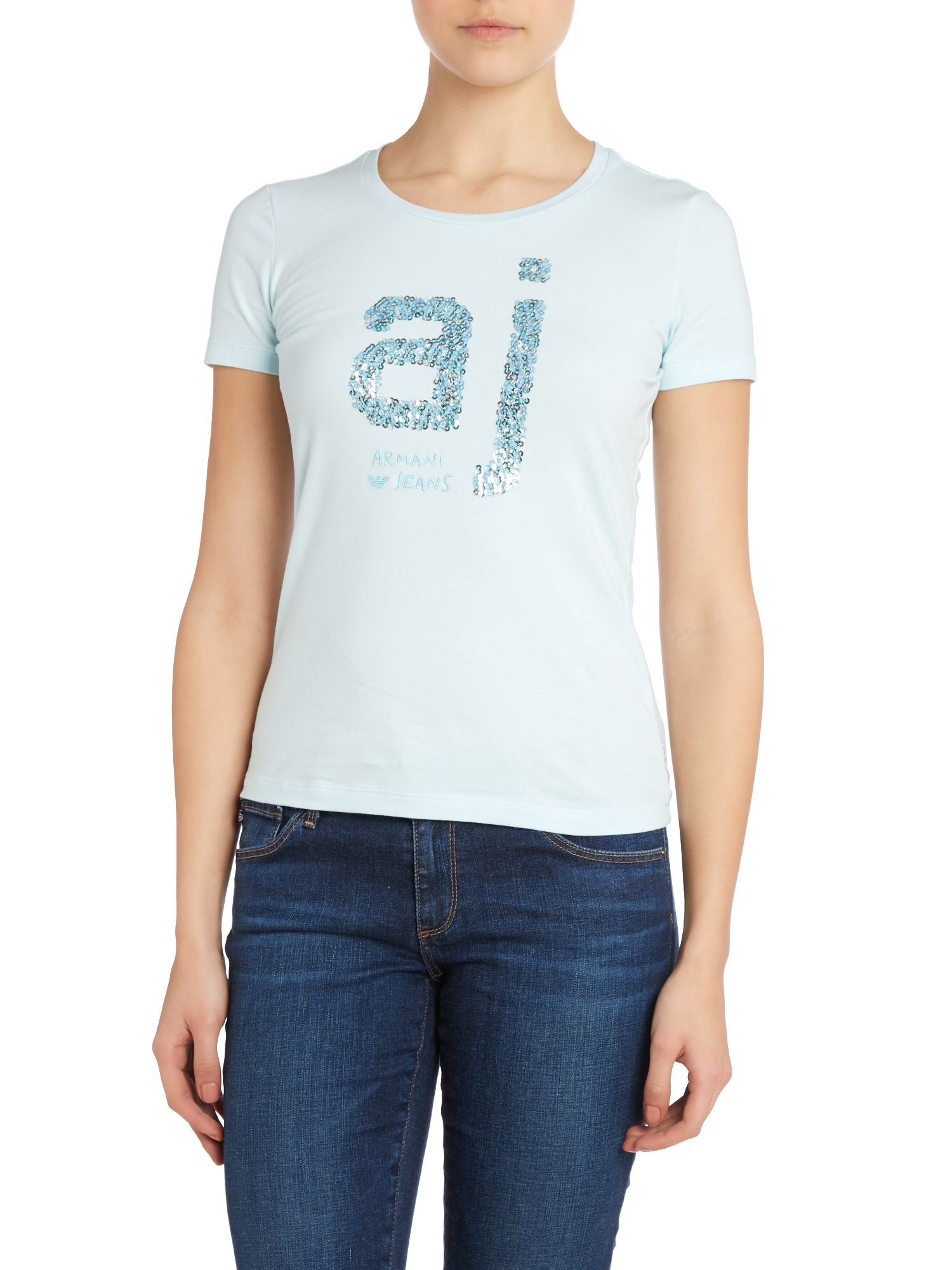 T-shirt with AJ sequin logo