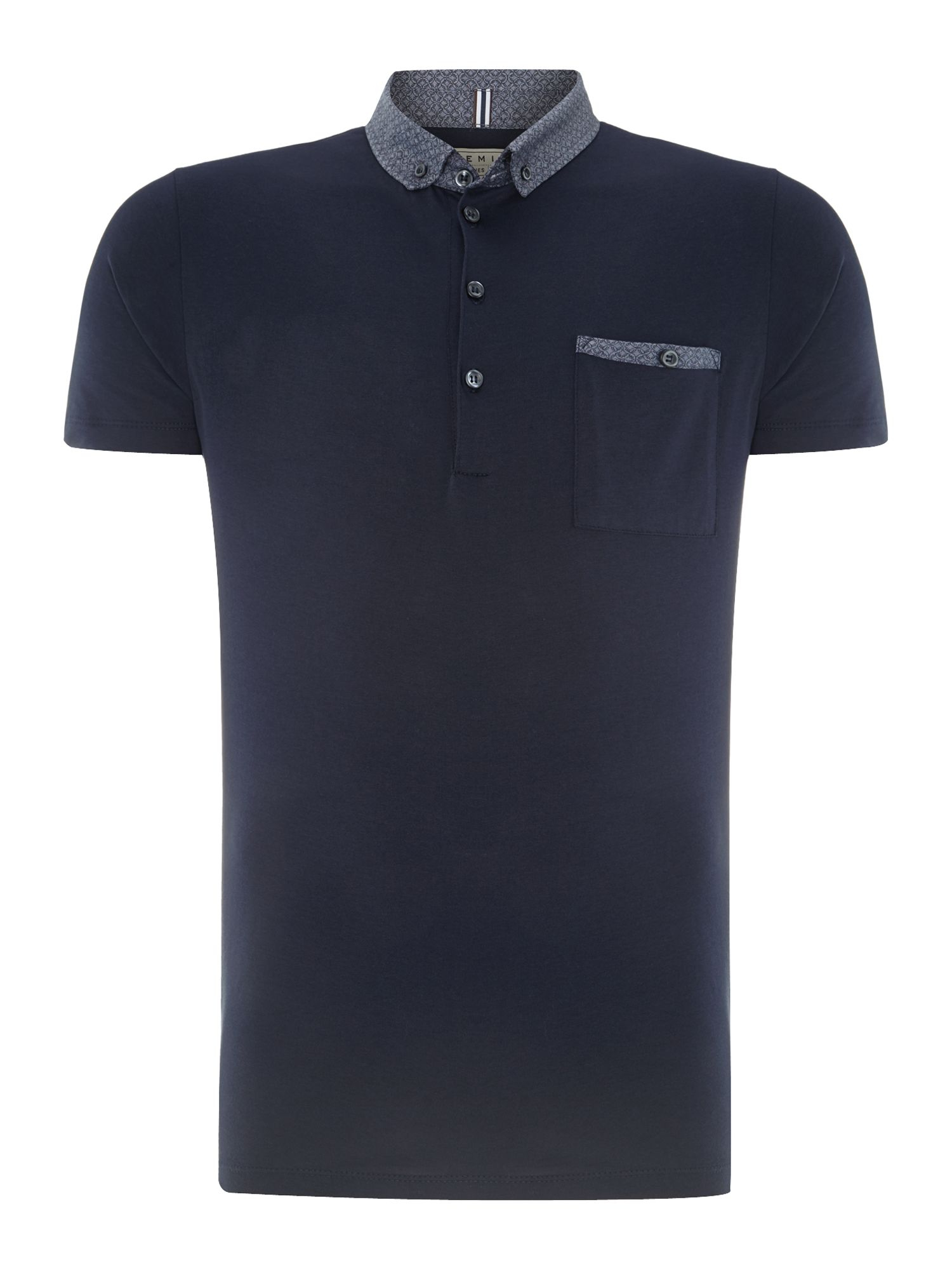 Patterned collar polo shirt