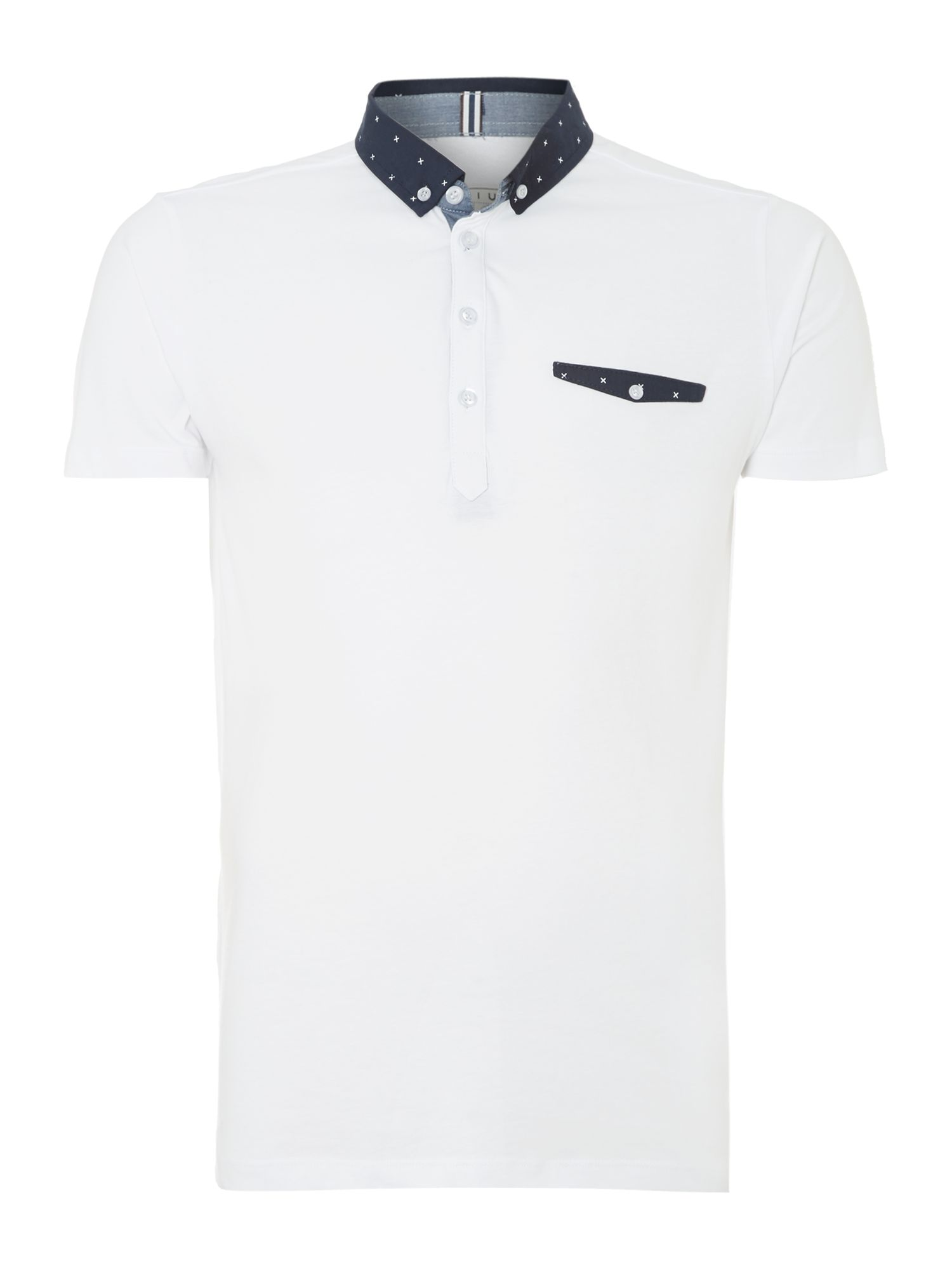 Patterned collar and placket polo shirt