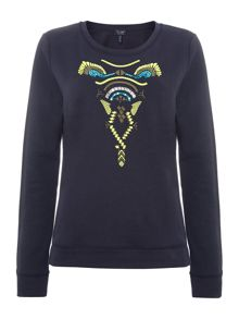 Tribal print long sleeve print sweat