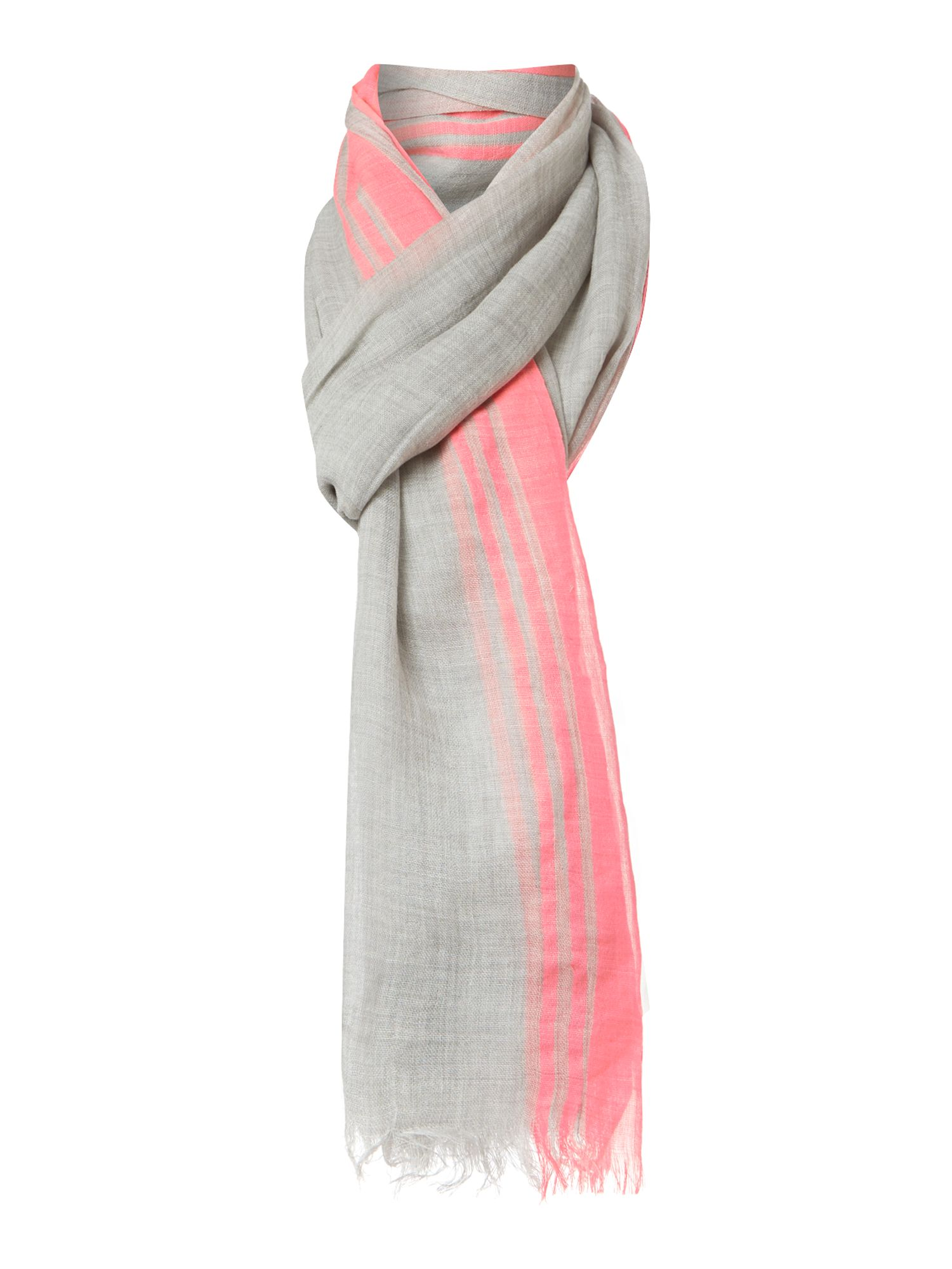Printed scarf with neon trim