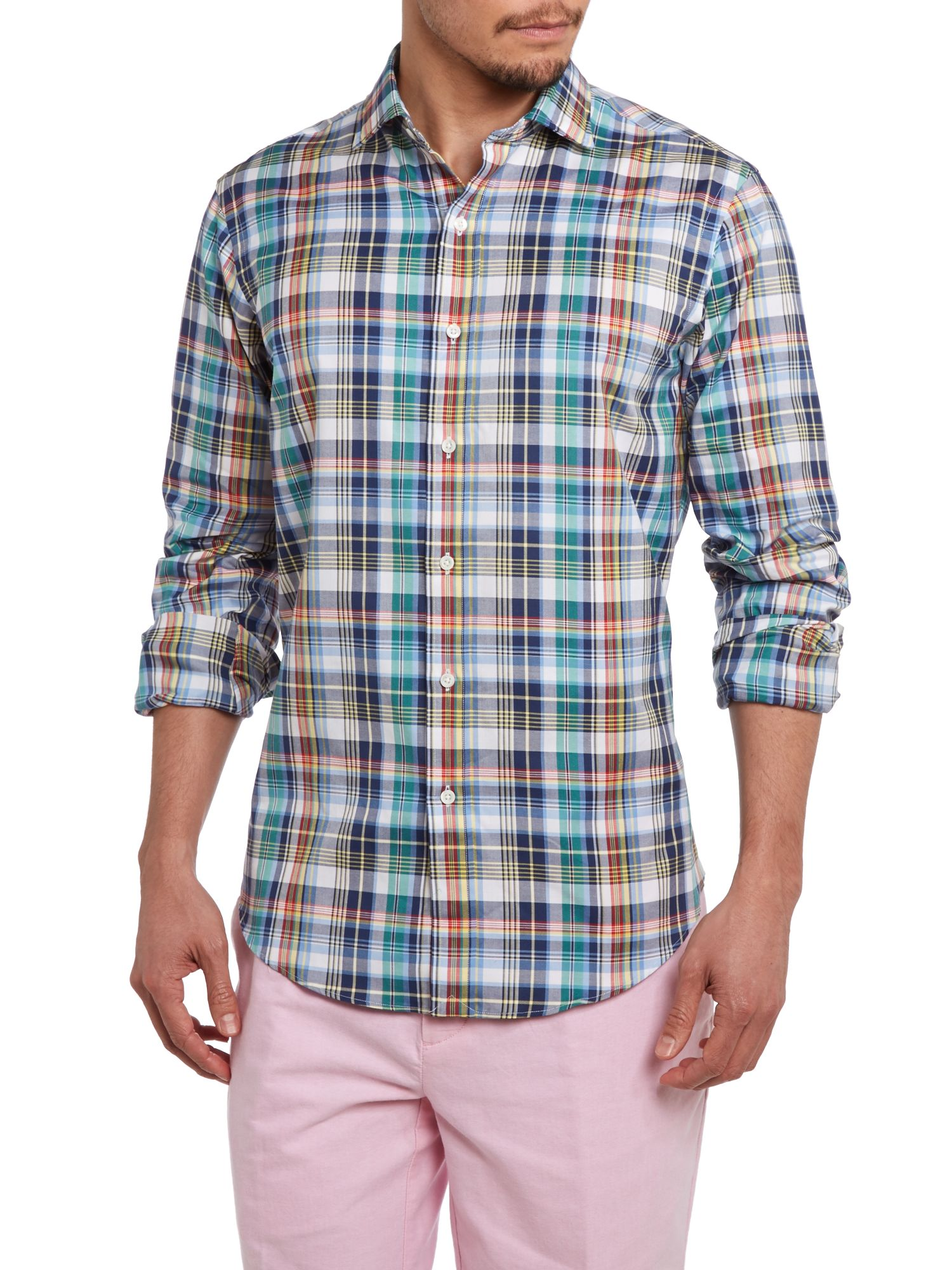 Long sleeve custom fit multi check shirt