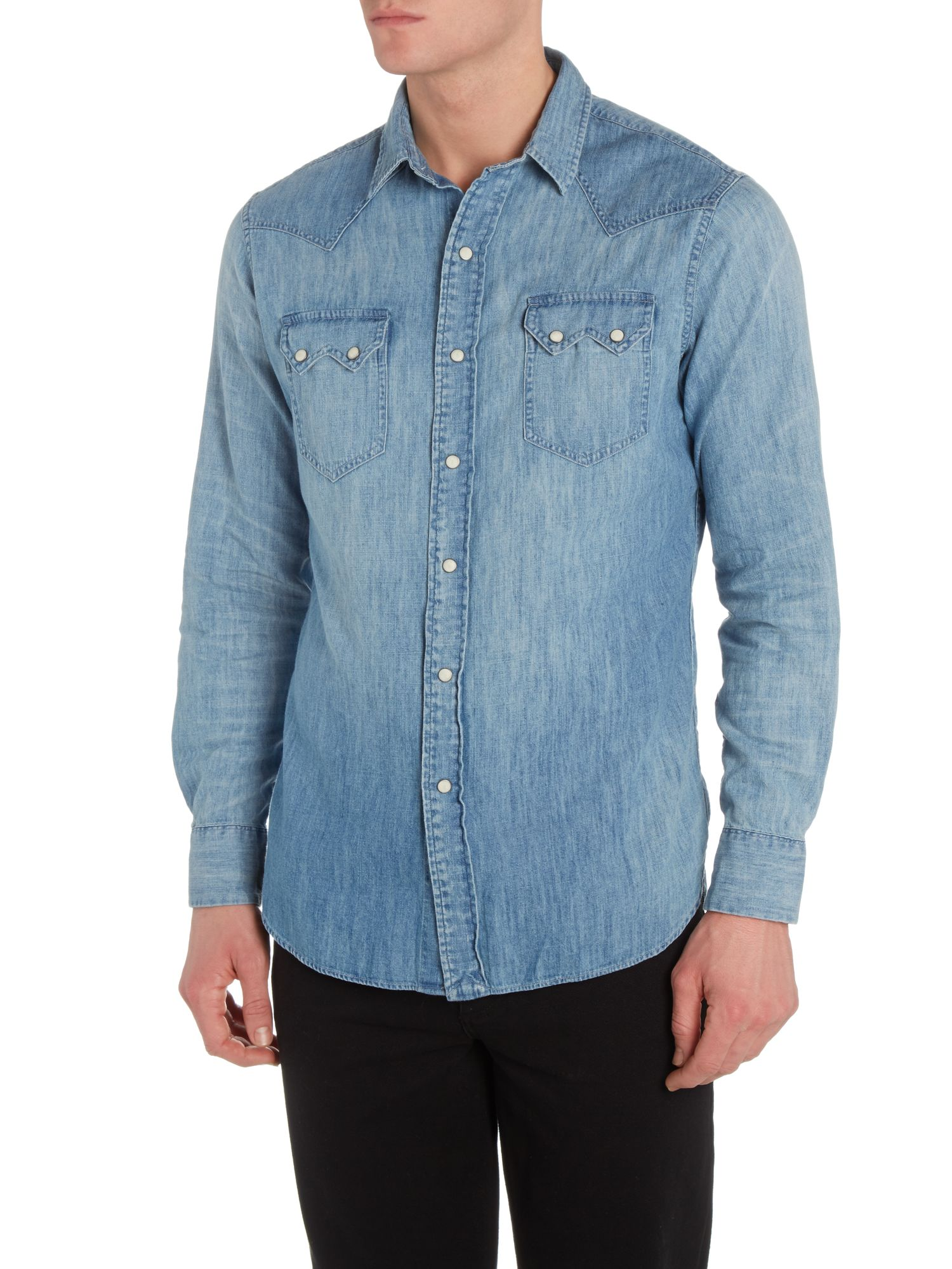 Western chambray custom fit shirt