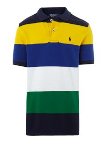 Boy`s block stripe polo