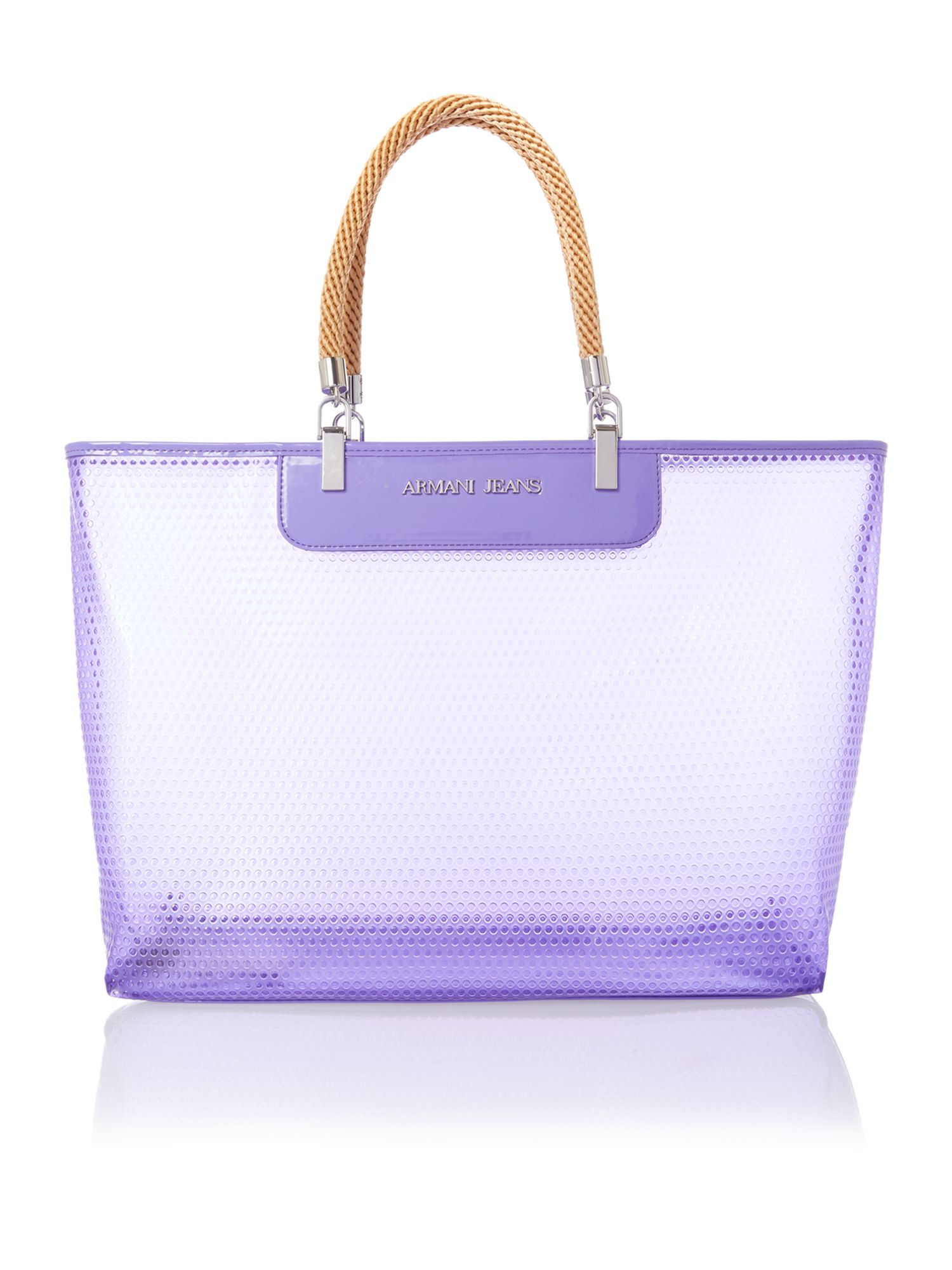 Large purple beach bag with rope handles