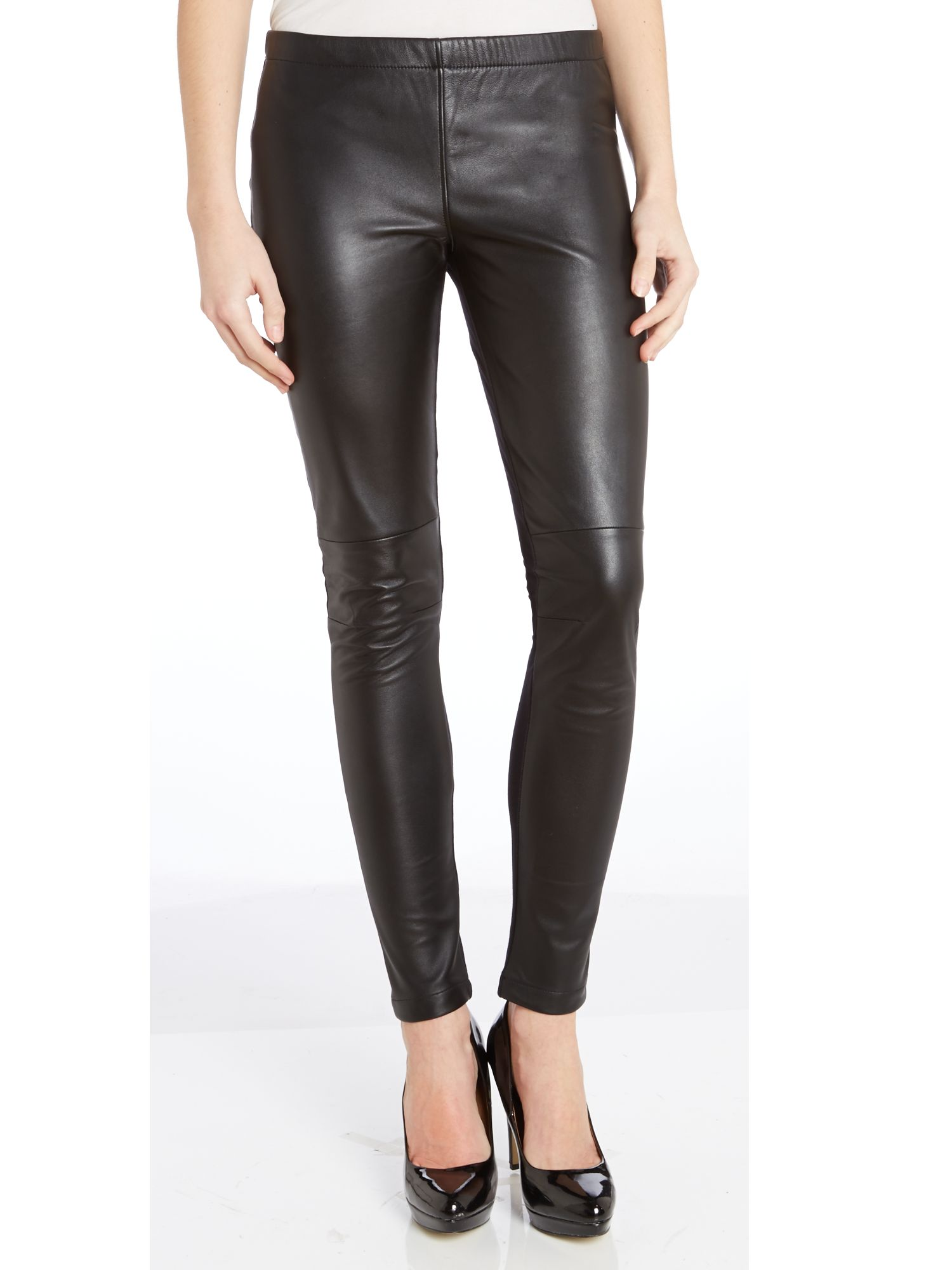 Leather and jersey mix leggings