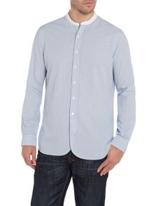 Classic fine striped white band shirt