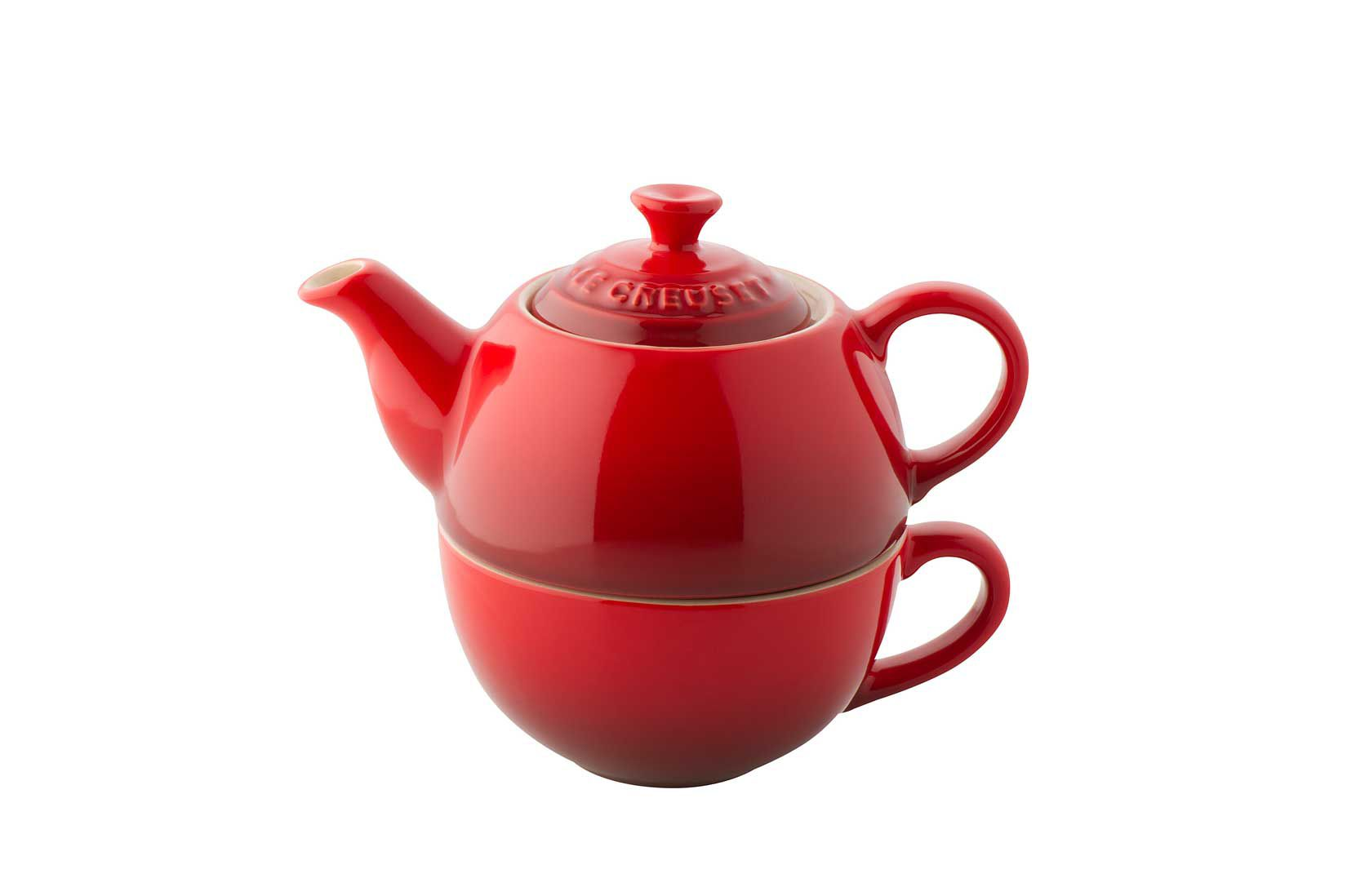 Stoneware tea for one cerise