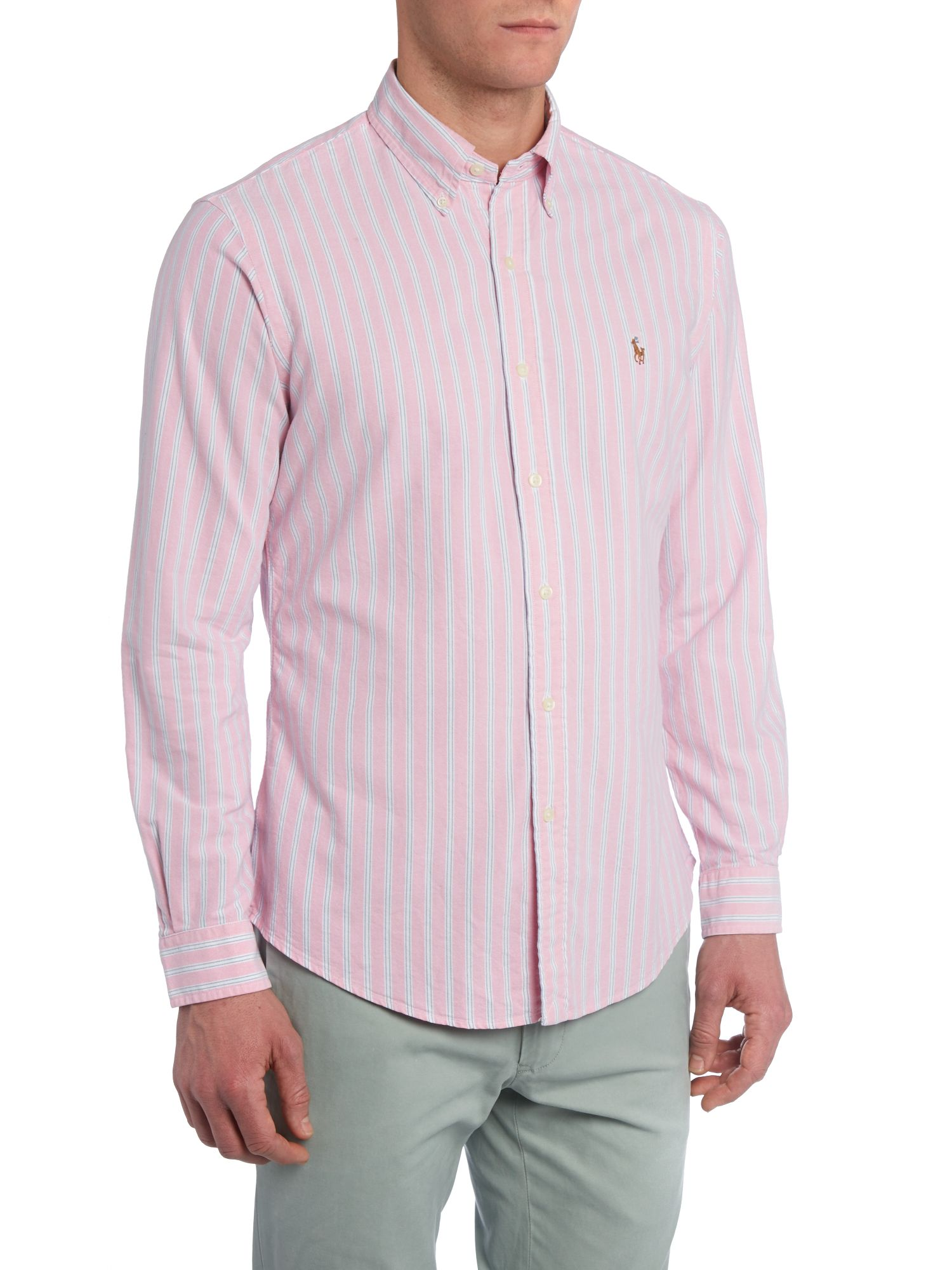 Classic long sleeve oxford candy stripe shirt
