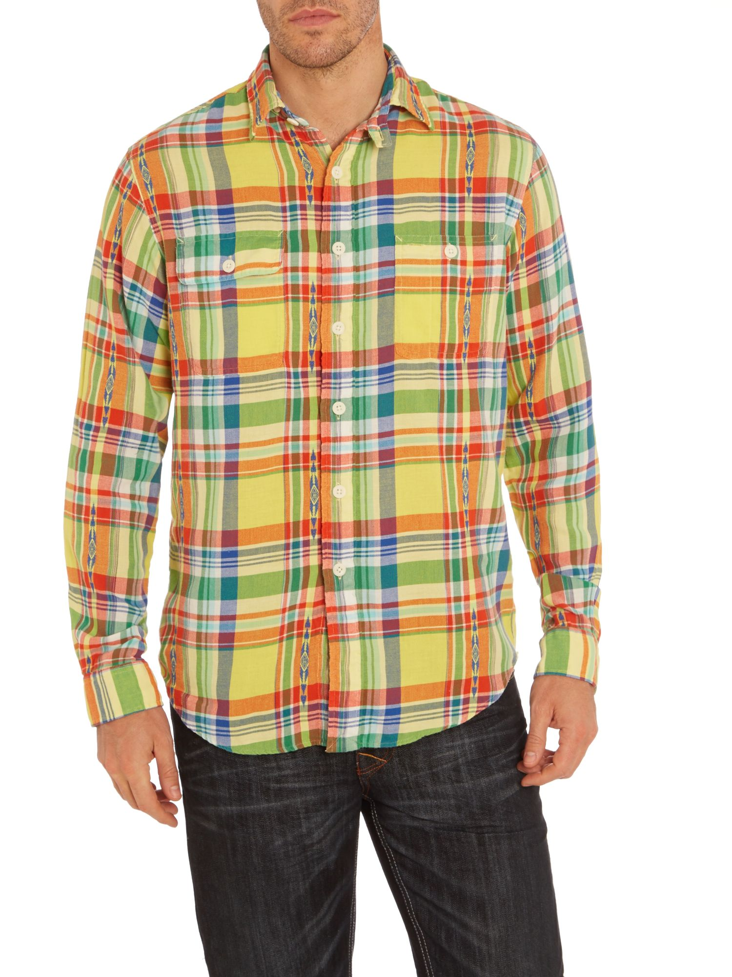 Classic dobby twill multi check shirt