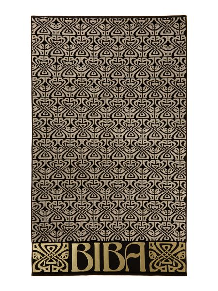 Biba Logo Beach Towel in Black
