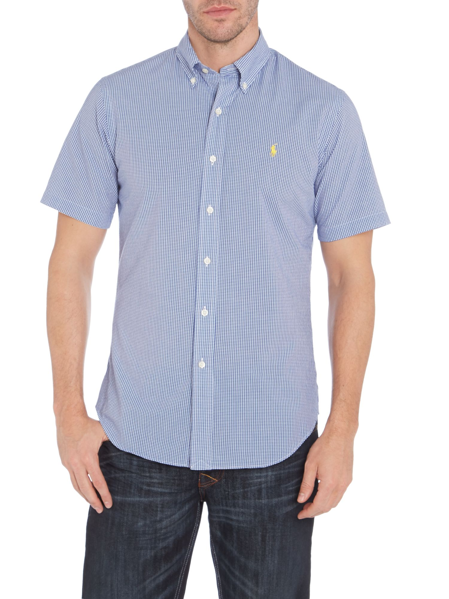 Short sleeve micro gingham slim fit shirt