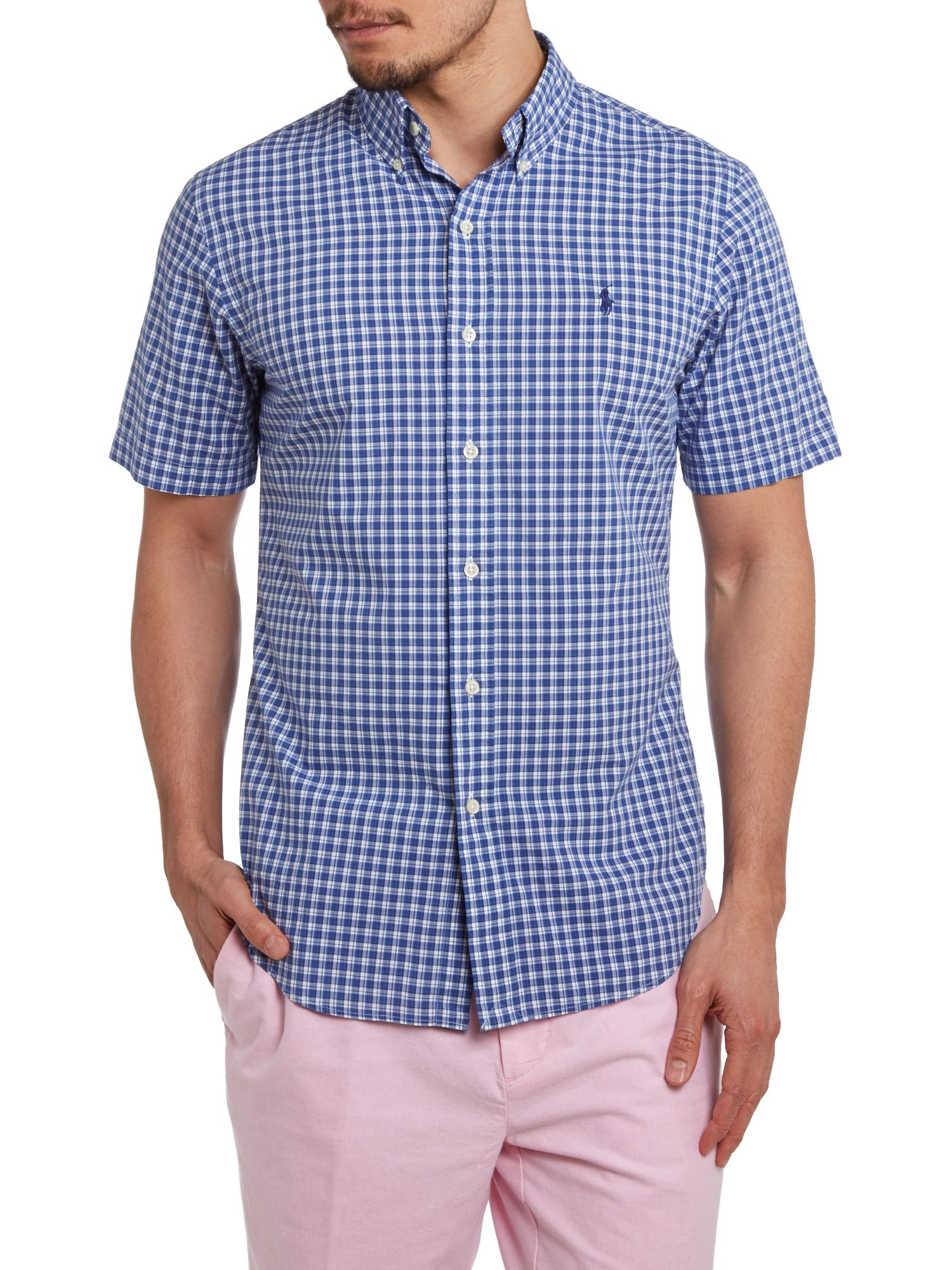 Short sleeve slim fit check shirt
