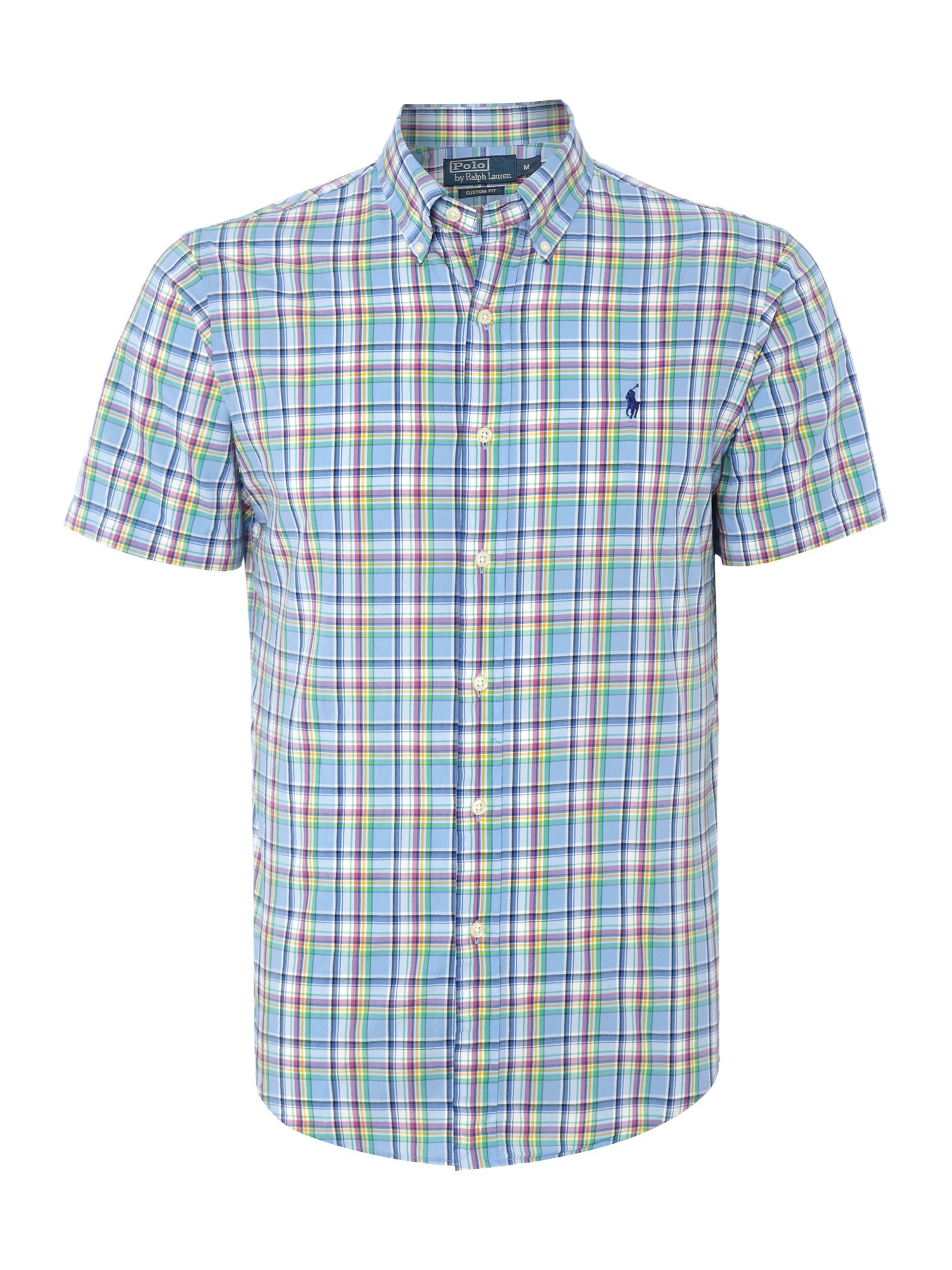 Short sleeve slim fit multi check shirt