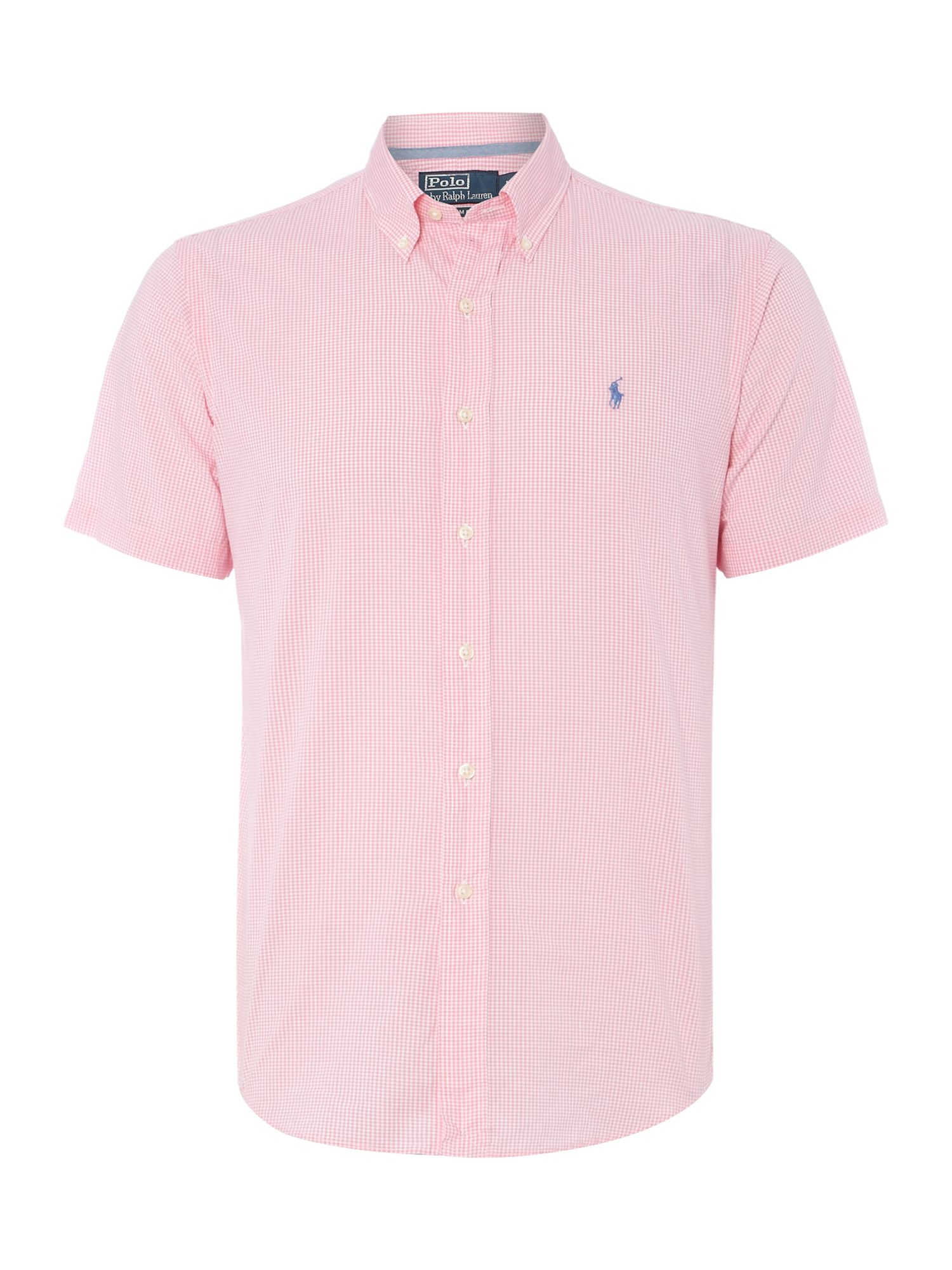 Short sleeve slim fit micro gingham shirt