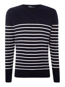 Mid striped pima cotton crew neck jumper