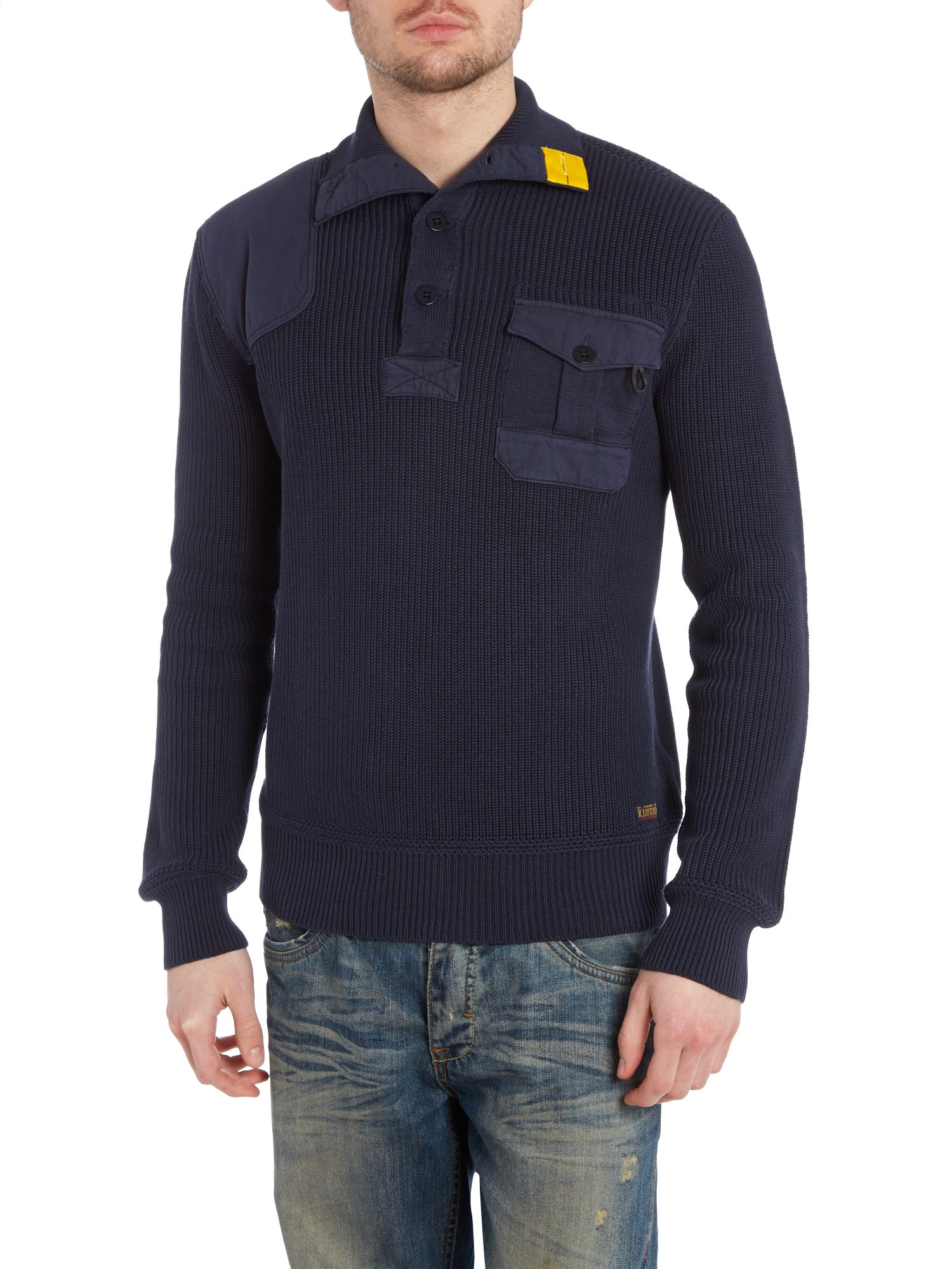 Heavy knit button mock pocket patch jumper