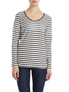 Long sleeve jersey stripe top with sparkle detail
