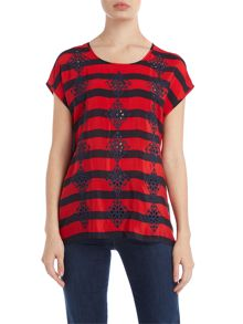 Silk stripe top with embroidered detail