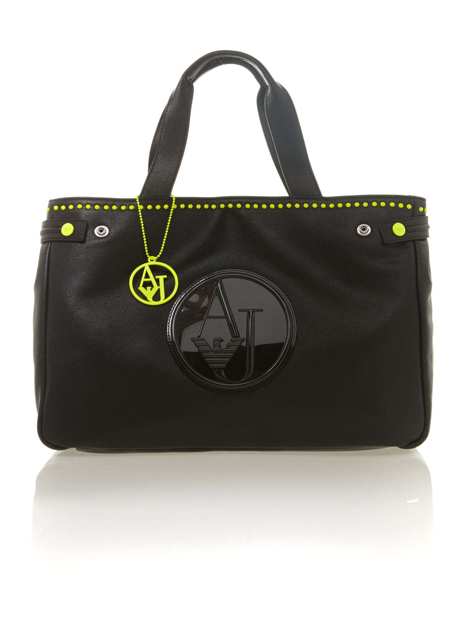 Black neon stud tote bag