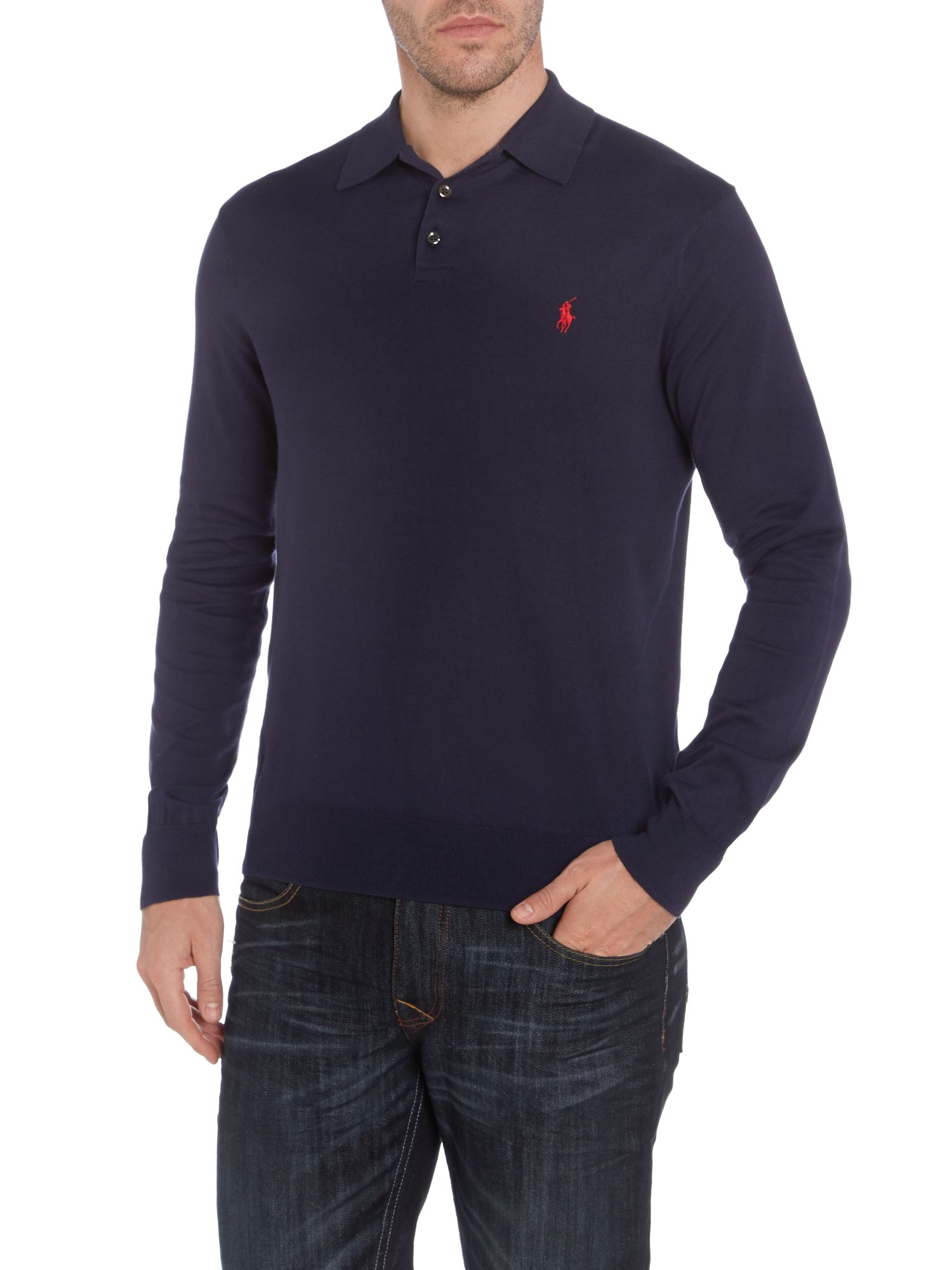 Ribbed collar half button pima cotton jumper