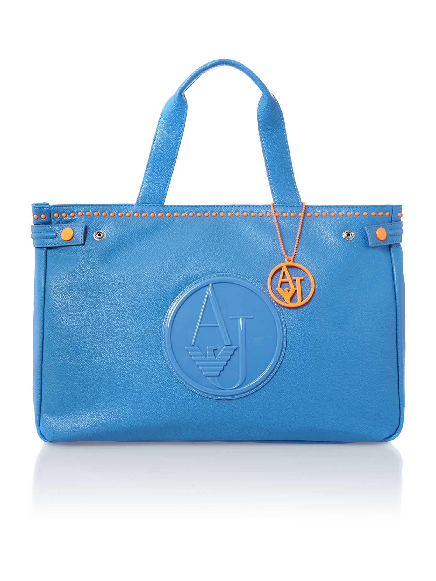 Blue neon stud tote bag