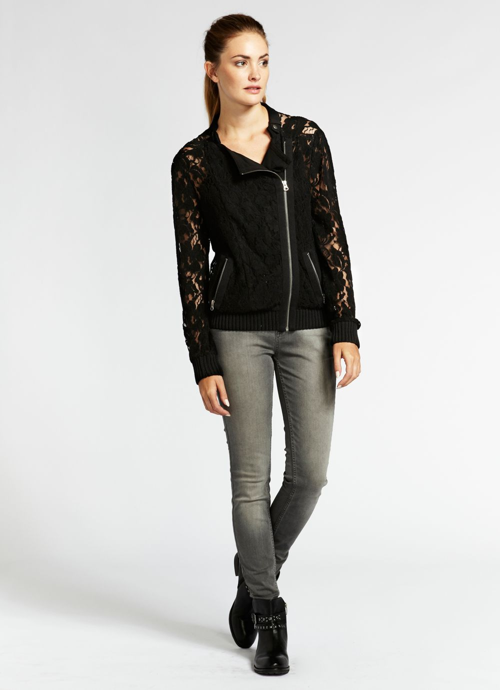 Black wool lace biker cardigan
