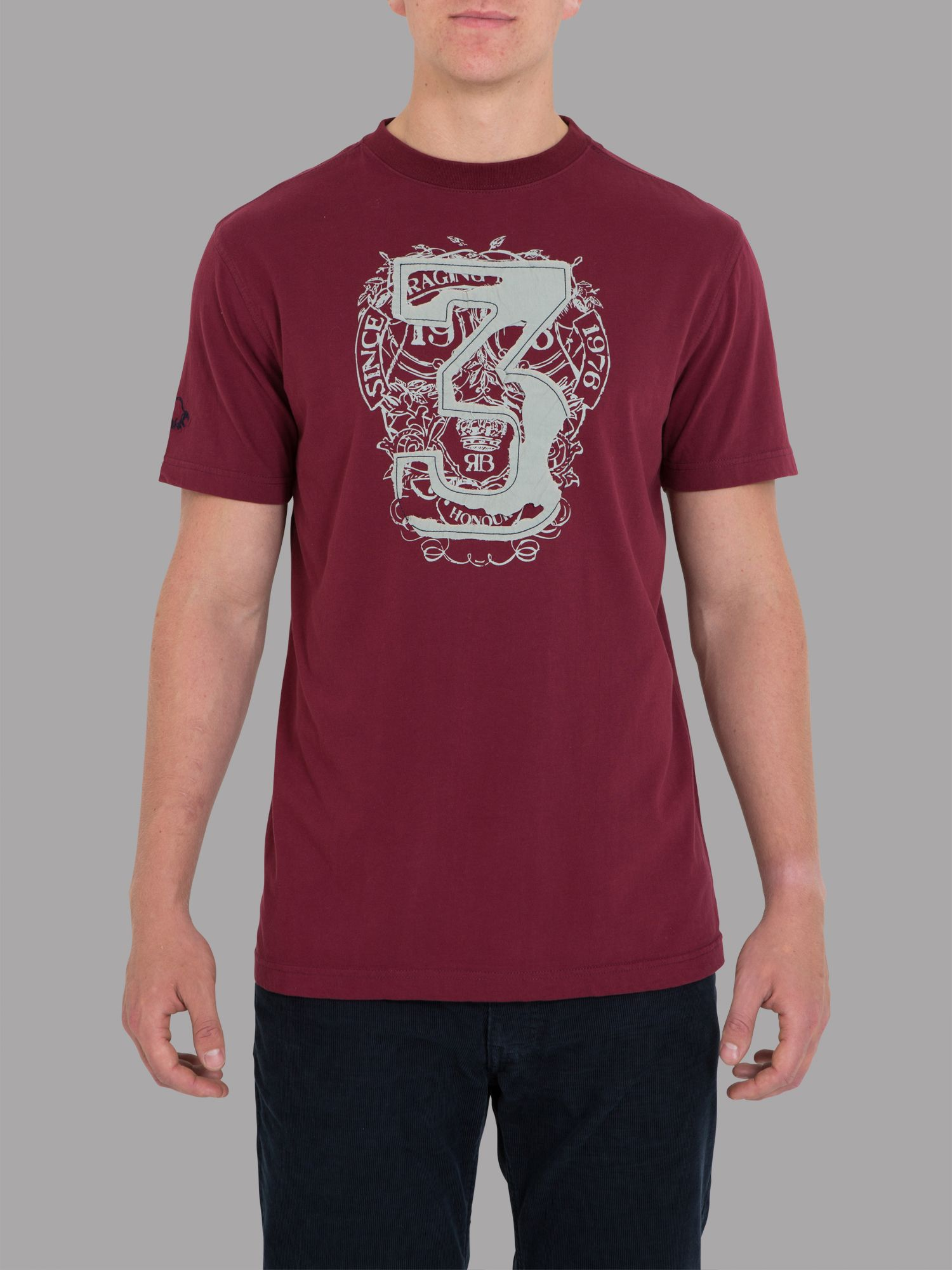 Big and tall number 3 tee claret
