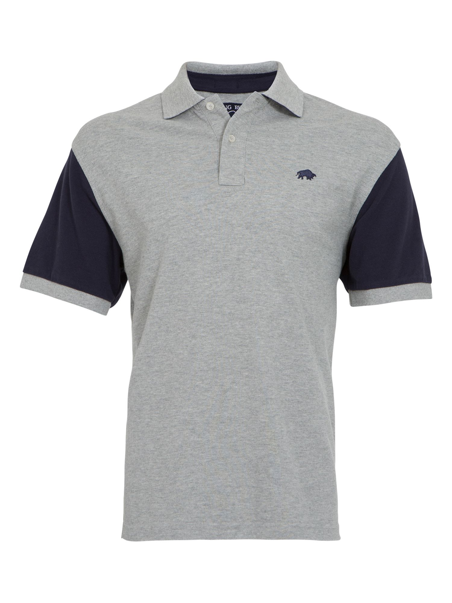 Big and tall contrast sleeve polo grey