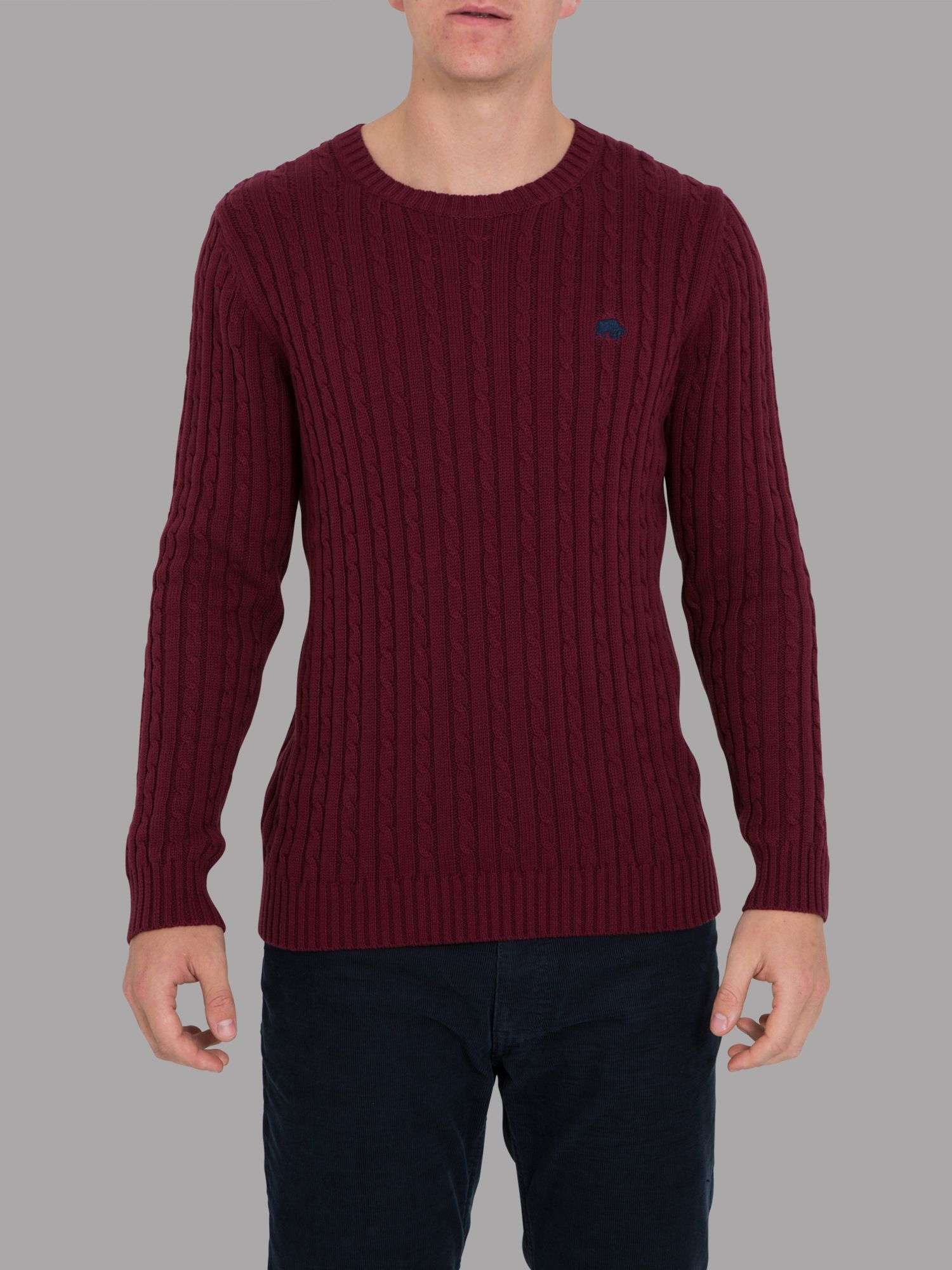 Big and tall cable knit sweater claret