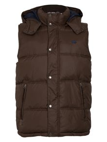 Big and tall hooded gilet brown