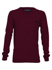 Big and tall v-neck sweater claret