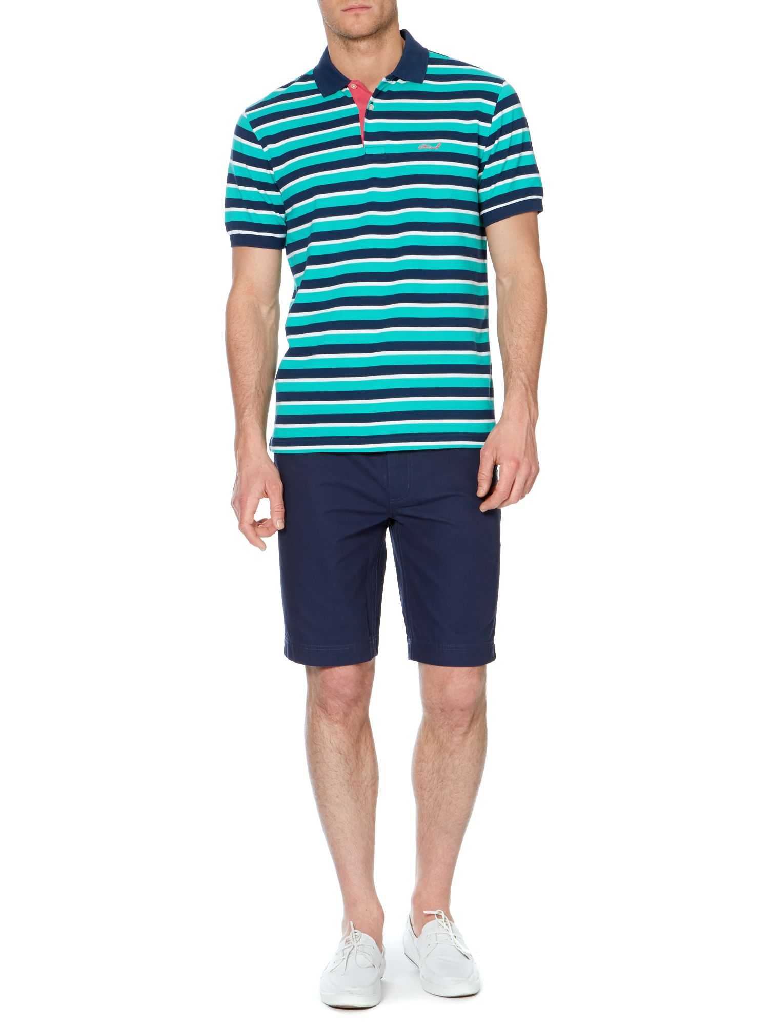 kent pique stripe short sleeve polo