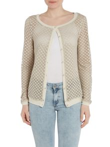 Mesh cardigan with trim