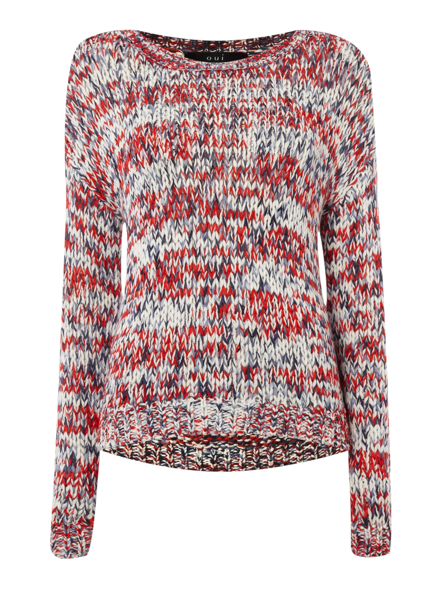 Multi-coloured loose weave knitted jumper