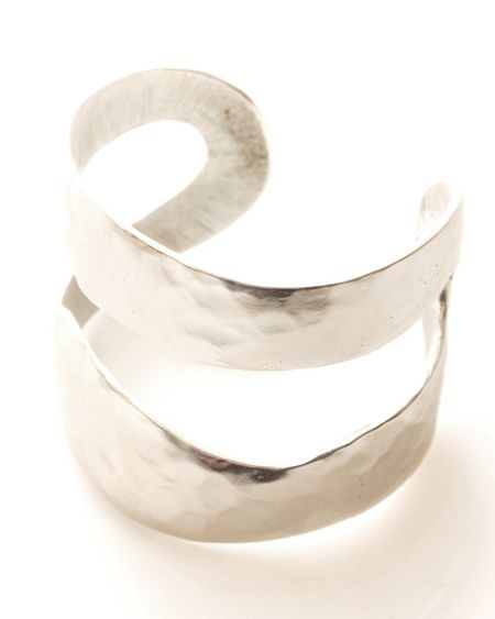 East Silver plated textured cuff