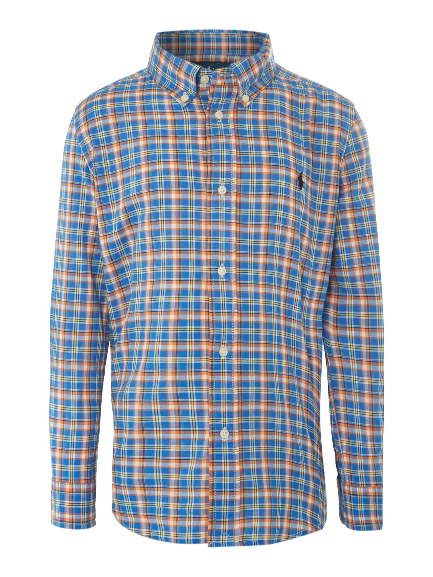 Boy`s checked chambray shirt