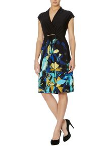 Floral ruch detail jersey dress