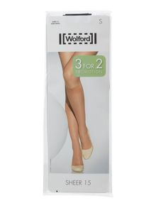 Wolford Sheer 3 pair pack 15 denier knee high socks