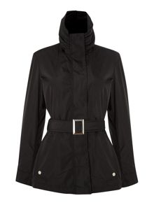 Belted Jacket With Long Sleeve And A Hood