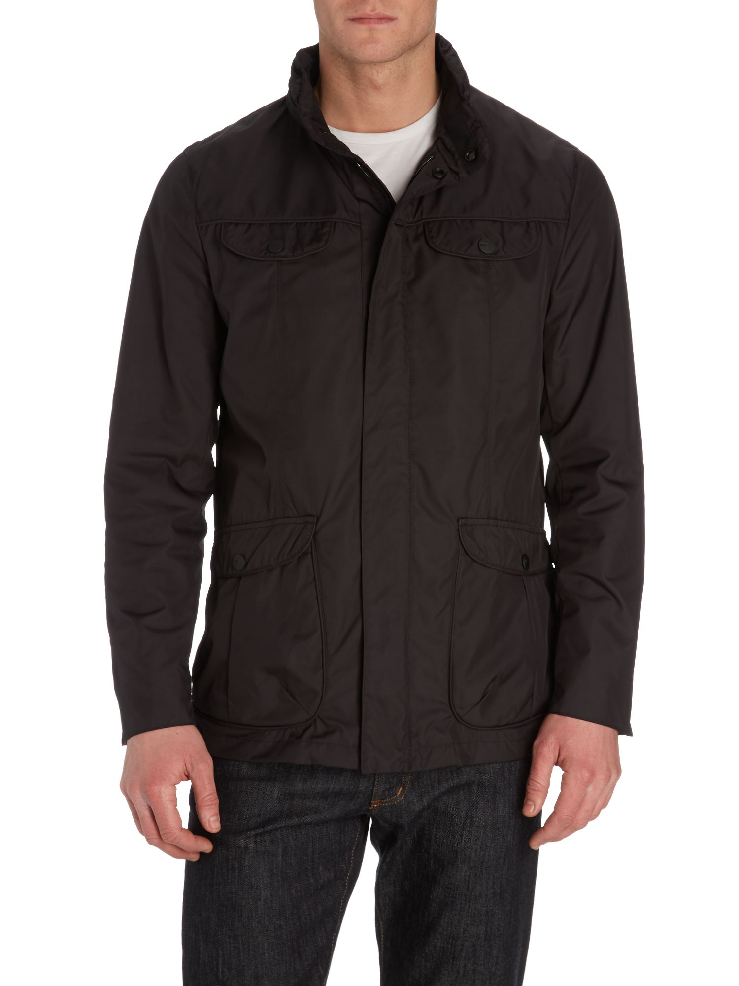 Four pocket concealed hood coat