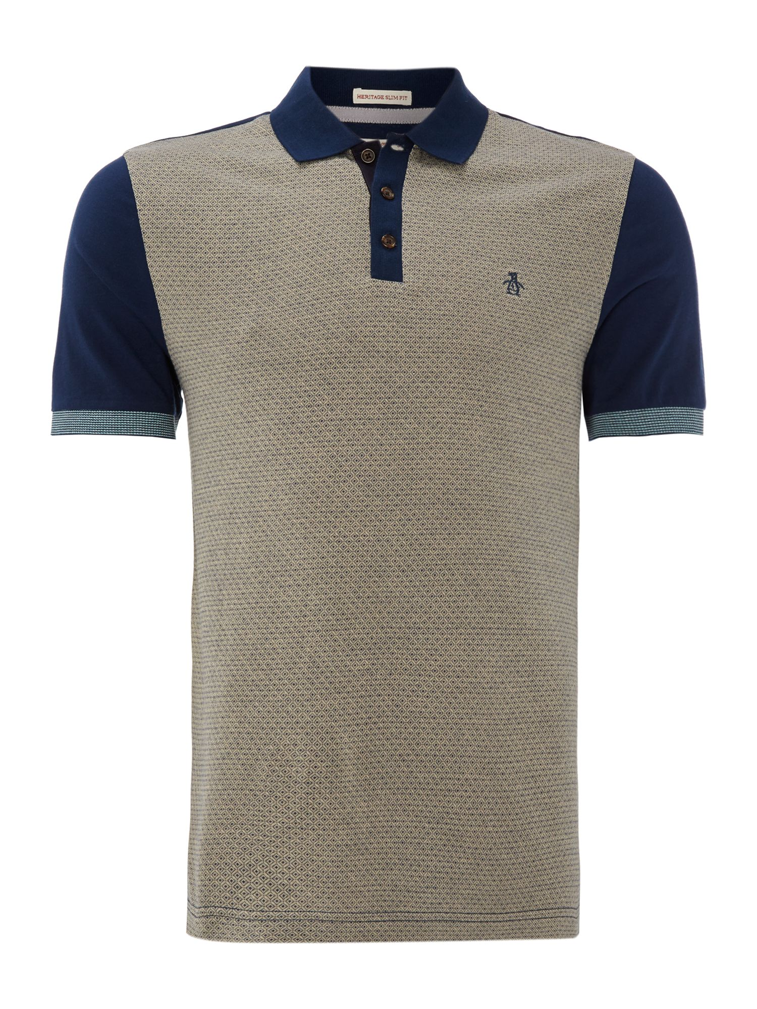 Jacquard front colour blocked polo