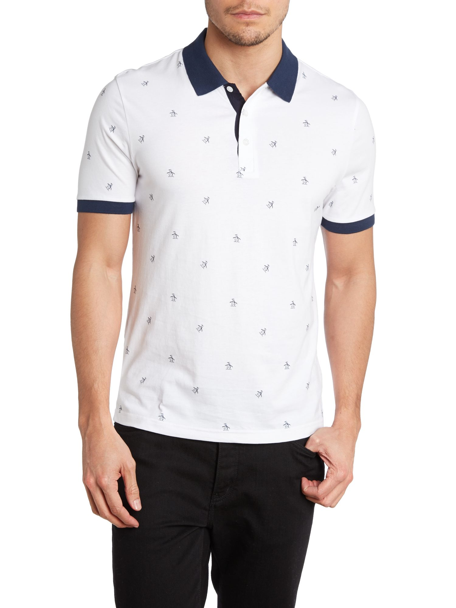 All over enguin print polo