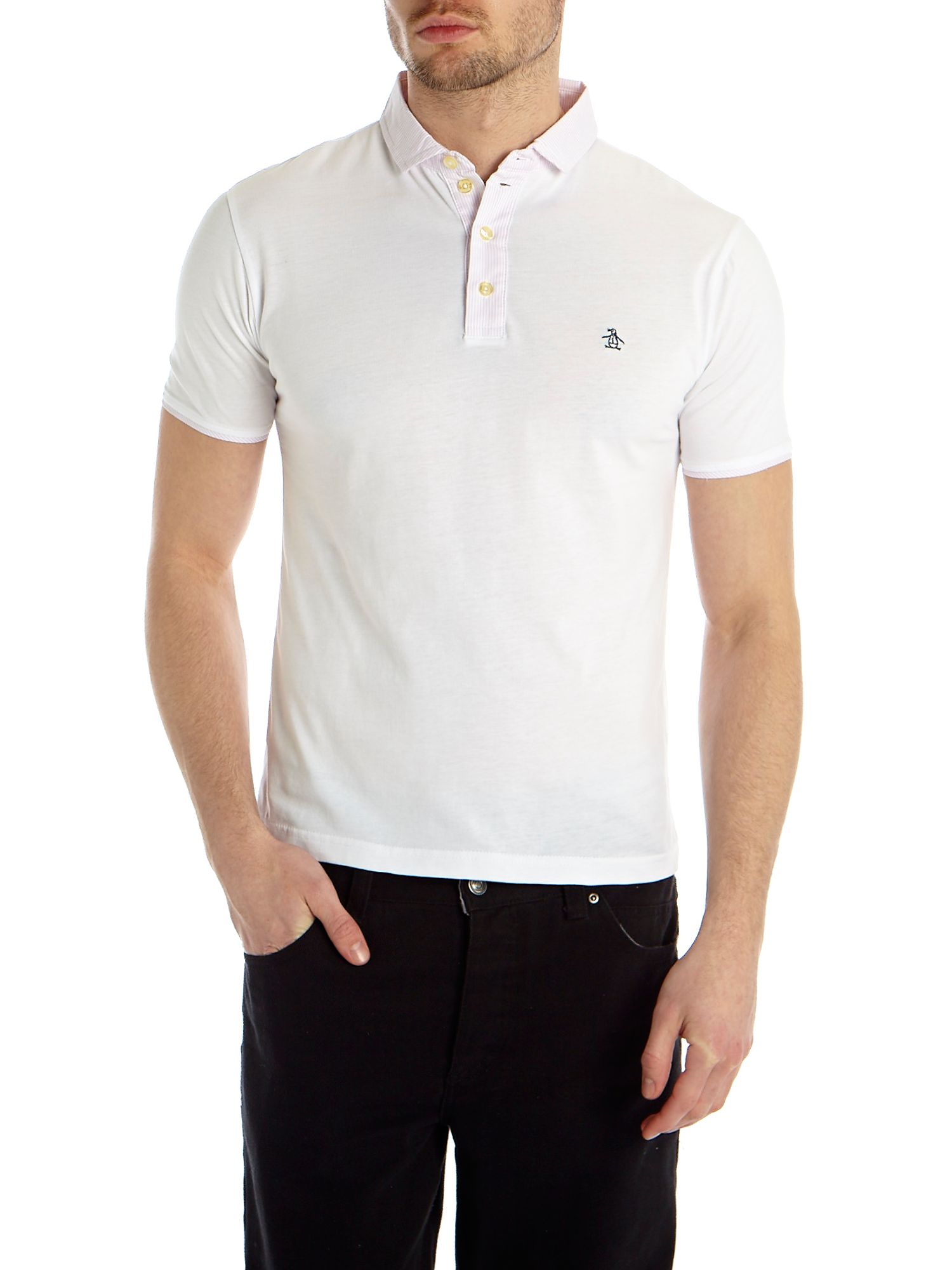 Short sleeve polo with woven trim