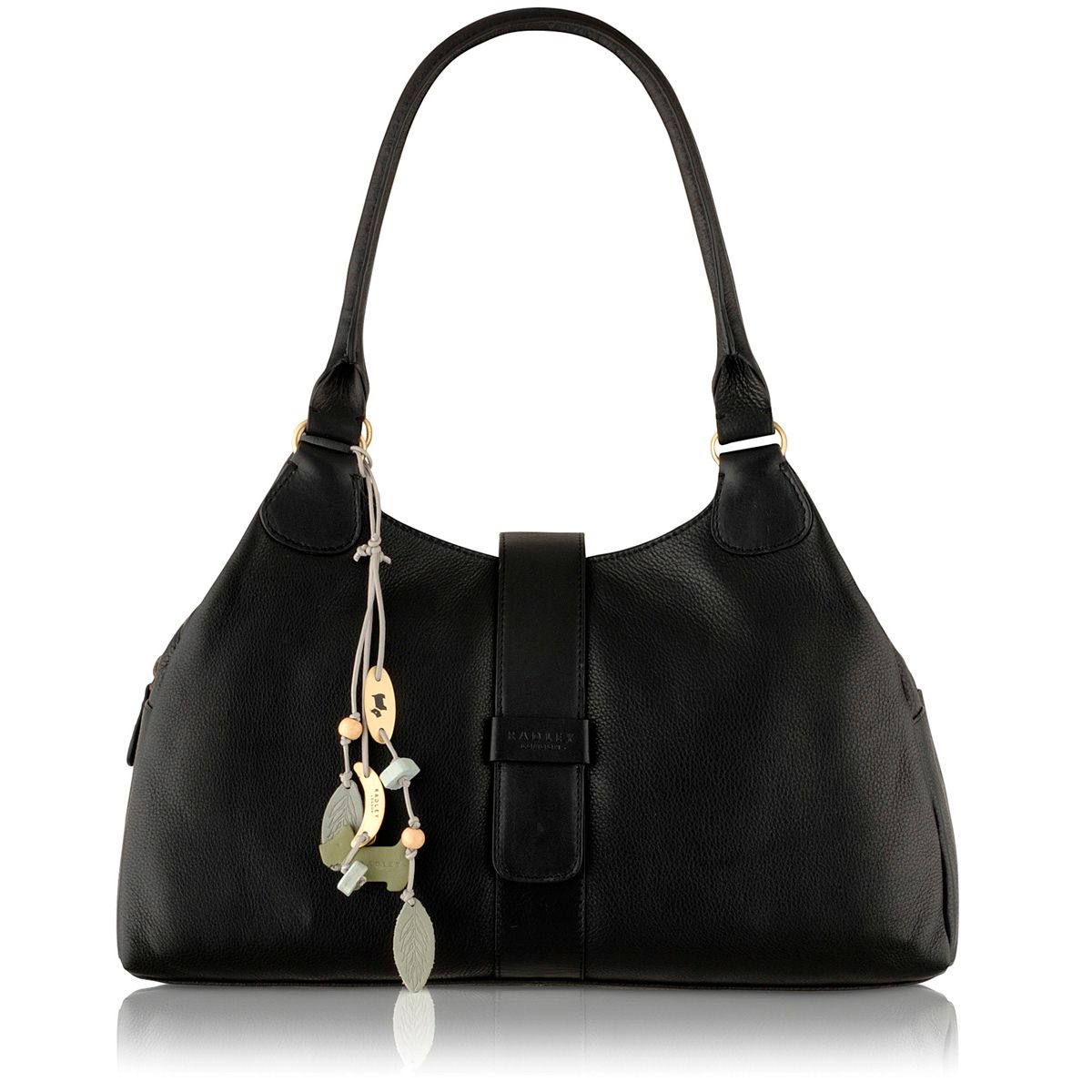 Danby black large leather ziptop tote bag
