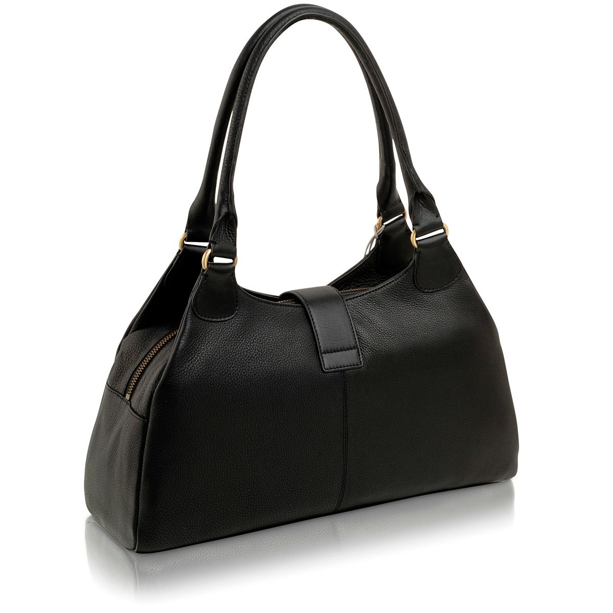 Black large leather ziptop tote bag